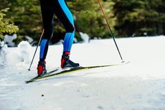 Legs men skier. Athlete ski racing competitions Royalty Free Stock Images