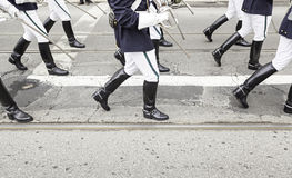 Legs in a military parade Royalty Free Stock Photo