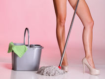 Legs and mop cleaner girl Woman housewife Royalty Free Stock Photo