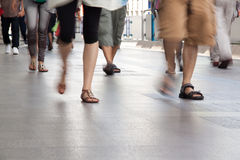 The Legs is movement on footpath. Stock Photo