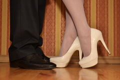 Lovers kiss seen just feet. St. Valentine's Day, Lovers kiss seen just feet Royalty Free Stock Images