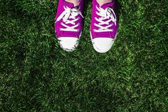 Legs in old pink sneakers on green grass. View from above. The c royalty free stock photos