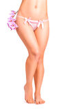 Legs with orchid flower on white Royalty Free Stock Photos