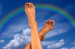 Legs over sky with clouds and Royalty Free Stock Photography