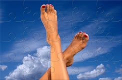 Legs over sky puzzle Royalty Free Stock Photo