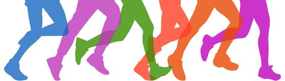 A legs of people are running stock illustration