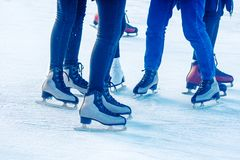 Legs of people skating closeup stock images