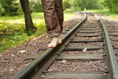 Legs on railway Royalty Free Stock Images