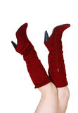 Legs with red boots. Royalty Free Stock Photos