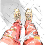 Legs with redjeans in gumshoes. Vector illustration. EPS Royalty Free Stock Image