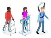Legs rehabilitation people - isometric vector design 3d vector illustration