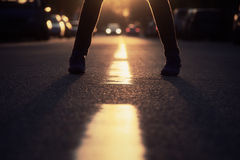 Legs on the road Royalty Free Stock Photography