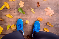 Legs of runner. Blue sports shoes. Colorful autumn leaves. Studio shot on brown wooden background Royalty Free Stock Images