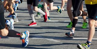 Legs of Runners at Marathon Stock Photo