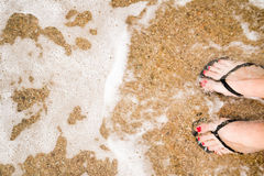 Legs on sandy beach Royalty Free Stock Photo