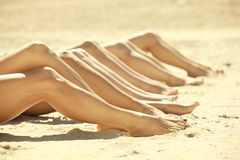 Legs of several girls Royalty Free Stock Photo