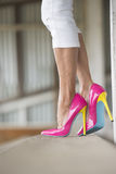 Legs and sexy high heels standing. Concept close up image of woman standing in Elegant sexy pink high heel shoes, relaxed on bench, copy space, blurred Stock Photos