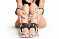 Legs in shackles Royalty Free Stock Photography