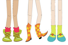 Legs and shoes. Sketch with girl shoes and legs Royalty Free Stock Images