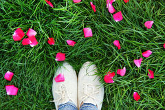 Legs shoes on the green grass. Legs in shoes on the green grass Royalty Free Stock Photos