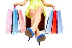 Legs of shopper Stock Images