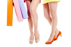 Legs of shoppers Royalty Free Stock Images