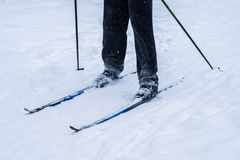 Legs of a skier in the deep winter snow Stock Images