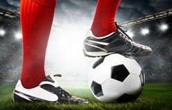 Legs of a soccer player Royalty Free Stock Images