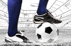 Legs of a soccer player Stock Images