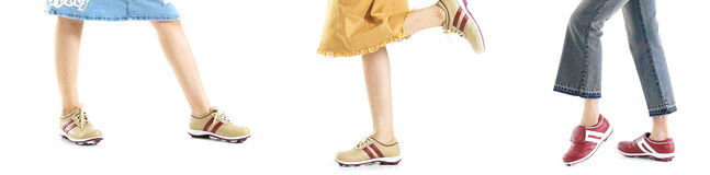 Legs with sports shoes. Different pose Royalty Free Stock Images