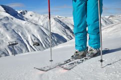 Legs standing on ski Royalty Free Stock Photography