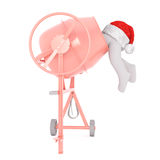 Legs sticking out of cement mixer with hat on rear Stock Image