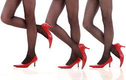Legs in stockings and high-heeled. Beautiful legs in red high-heeled shoes, isolated on white background Stock Image