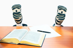Legs student girl. On white Stock Photo