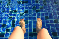 Legs in the swimming pool Royalty Free Stock Image