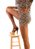 Legs of tall girl. A closeup picture of the legs of a slim tall black woman for white background Royalty Free Stock Photography