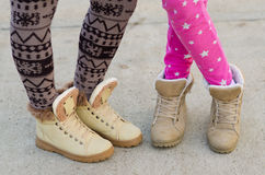 Legs of teenage girls. Outdoor Royalty Free Stock Images