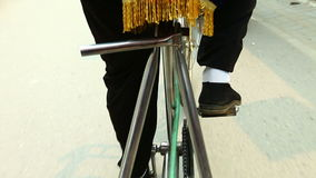 Legs of trishaw. Trip on trishaw in China stock video footage
