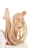 Legs under sheet rope Royalty Free Stock Photography