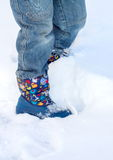 Legs. Walk in the snow in winter stock photography