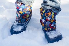 Legs. Walk in the snow in winter royalty free stock images