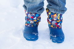 Legs. Walk in the snow in winter stock images