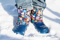 Legs. Walk in the snow in winter stock image