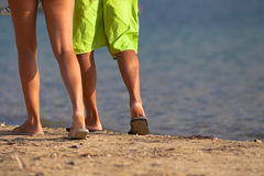 Legs walking on the beach Royalty Free Stock Photography