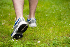 Legs of walking man on grass Stock Images