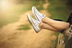 Legs, Window, Car, Dirt Road, Relax Royalty Free Stock Image