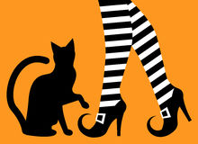 Legs witch and black cat. Witch legs in striped stockings and shoes with buckles and a silhouette of a black cat on an orange background Royalty Free Stock Photography