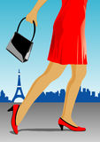 Legs of a woman. With red skirt and bag Stock Photos