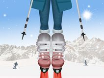 Legs of woman with boots and skis. Illustration of legs of woman with boots and skis Royalty Free Stock Photography