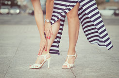 Legs of woman with high heels Stock Image
